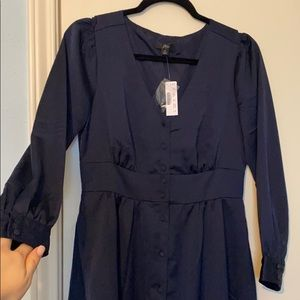 NWT J Crew Midi navy silk button front dress